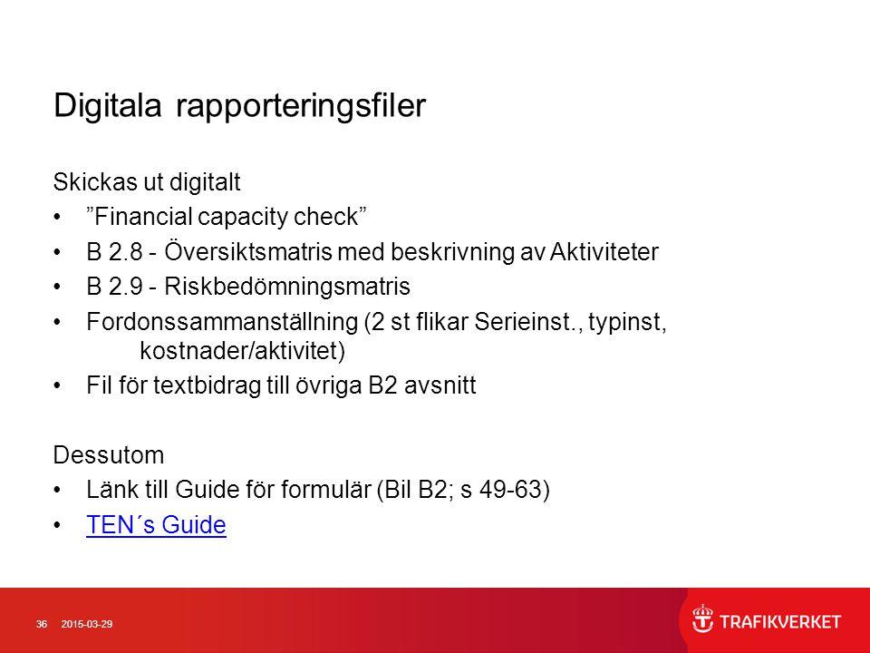 """362015-03-29 Digitala rapporteringsfiler Skickas ut digitalt """"Financial capacity check"""" B 2.8 - Översiktsmatris med beskrivning av Aktiviteter B 2.9 -"""