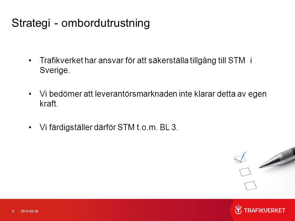 52015-03-29 Trafikverket har ansvar för att säkerställa tillgång till STM i Sverige. Vi bedömer att leverantörsmarknaden inte klarar detta av egen kra