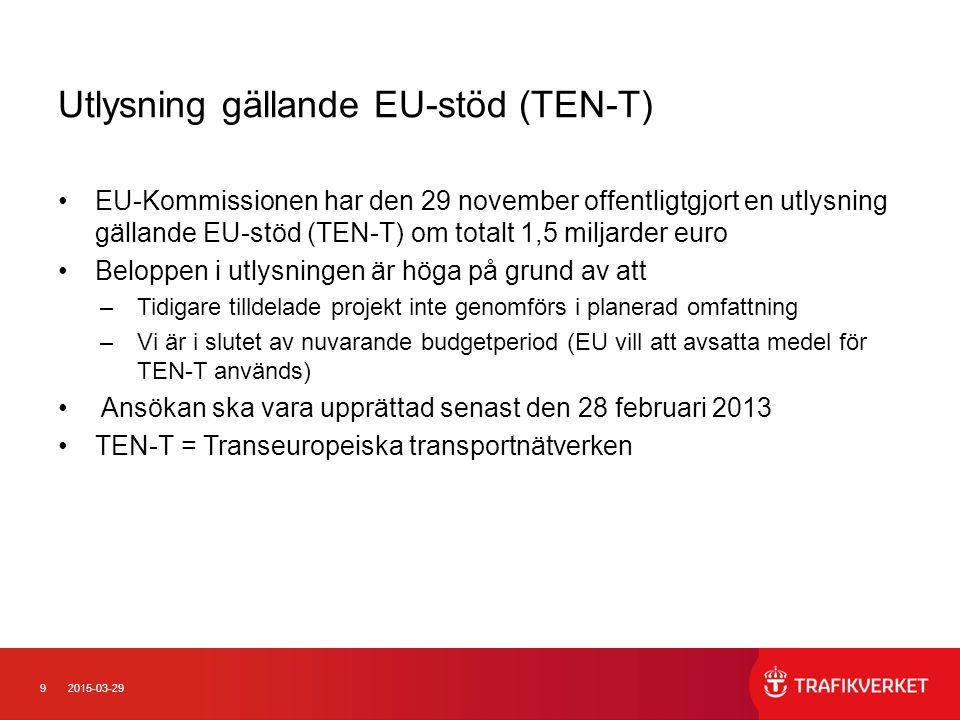 92015-03-29 Utlysning gällande EU-stöd (TEN-T) EU-Kommissionen har den 29 november offentligtgjort en utlysning gällande EU-stöd (TEN-T) om totalt 1,5
