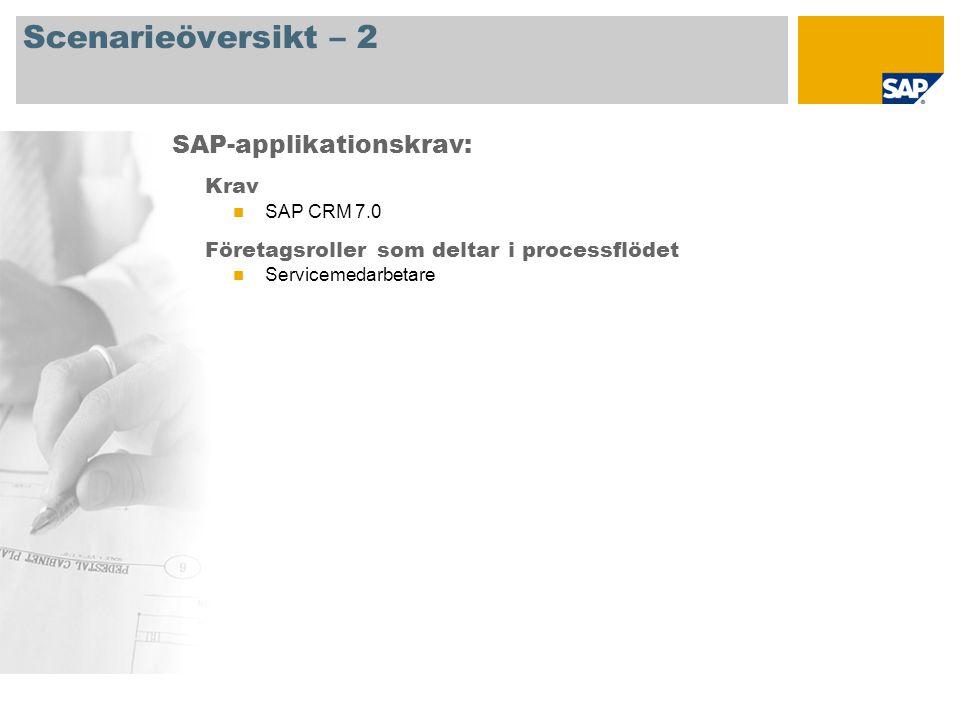 Scenarieöversikt – 2 Krav SAP CRM 7.0 Företagsroller som deltar i processflödet Servicemedarbetare SAP-applikationskrav: