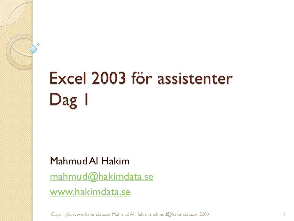Excel 2003 för assistenter Dag 1 Mahmud Al Hakim mahmud@hakimdata.se www.hakimdata.se 1Copyright, www.hakimdata.se, Mahmud Al Hakim, mahmud@hakimdata.