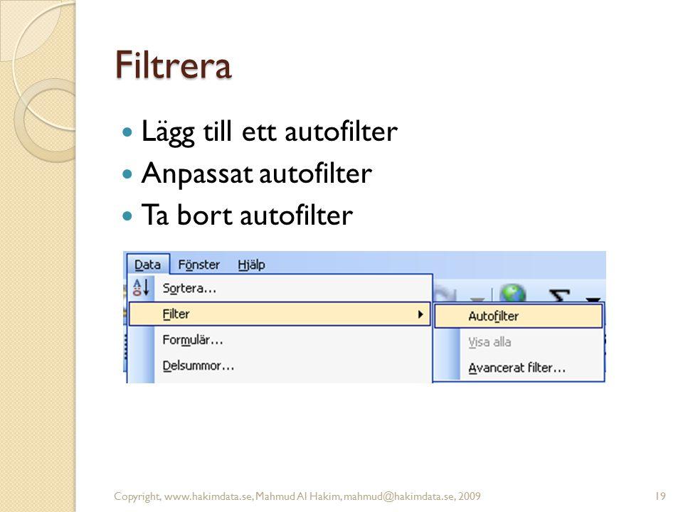 Filtrera Lägg till ett autofilter Anpassat autofilter Ta bort autofilter Copyright, www.hakimdata.se, Mahmud Al Hakim, mahmud@hakimdata.se, 200919