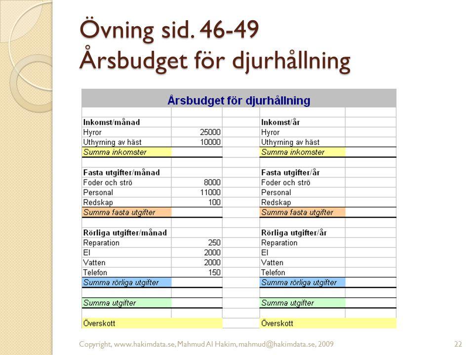 Övning sid. 46-49 Årsbudget för djurhållning Copyright, www.hakimdata.se, Mahmud Al Hakim, mahmud@hakimdata.se, 200922