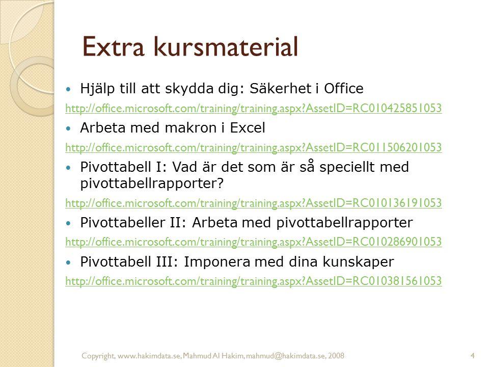 Copyright, www.hakimdata.se, Mahmud Al Hakim, mahmud@hakimdata.se, 20084 Extra kursmaterial Hjälp till att skydda dig: Säkerhet i Office http://office.microsoft.com/training/training.aspx AssetID=RC010425851053 Arbeta med makron i Excel http://office.microsoft.com/training/training.aspx AssetID=RC011506201053 Pivottabell I: Vad är det som är så speciellt med pivottabellrapporter.