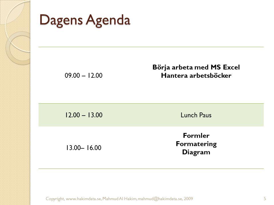 Dagens Agenda 09.00 – 12.00 Börja arbeta med MS Excel Hantera arbetsböcker 12.00 – 13.00Lunch Paus 13.00– 16.00 Formler Formatering Diagram 5Copyright, www.hakimdata.se, Mahmud Al Hakim, mahmud@hakimdata.se, 2009