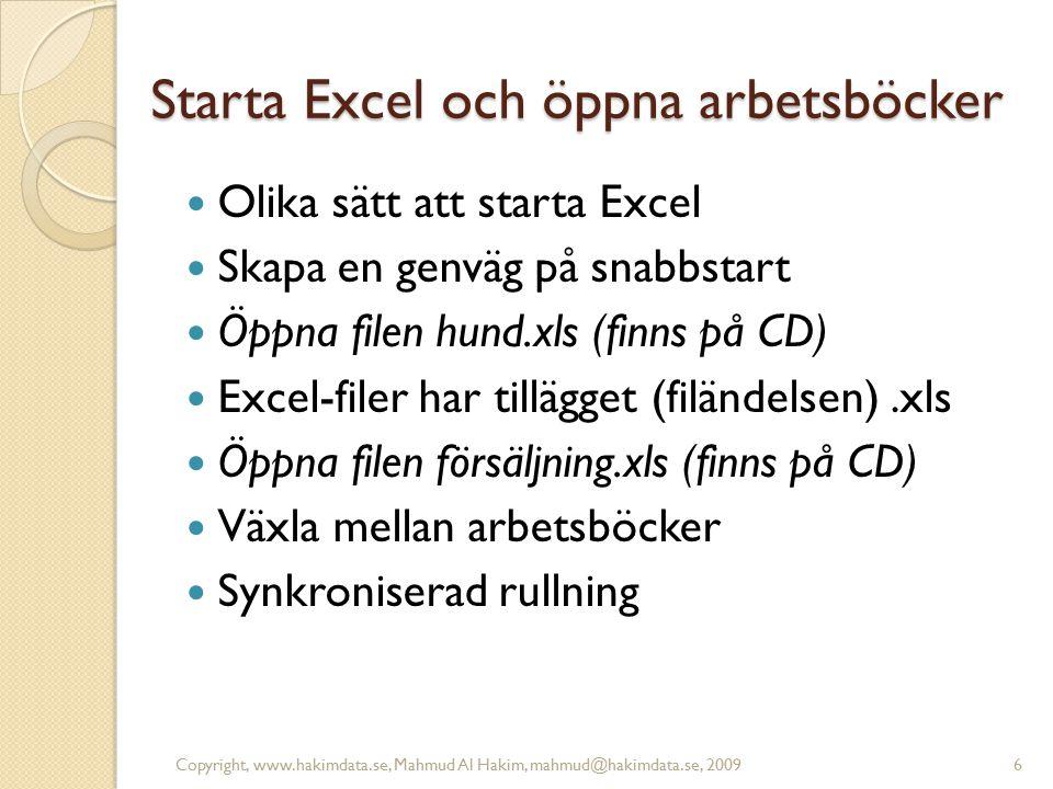 Starta Excel och öppna arbetsböcker Olika sätt att starta Excel Skapa en genväg på snabbstart Öppna filen hund.xls (finns på CD) Excel-filer har tillä