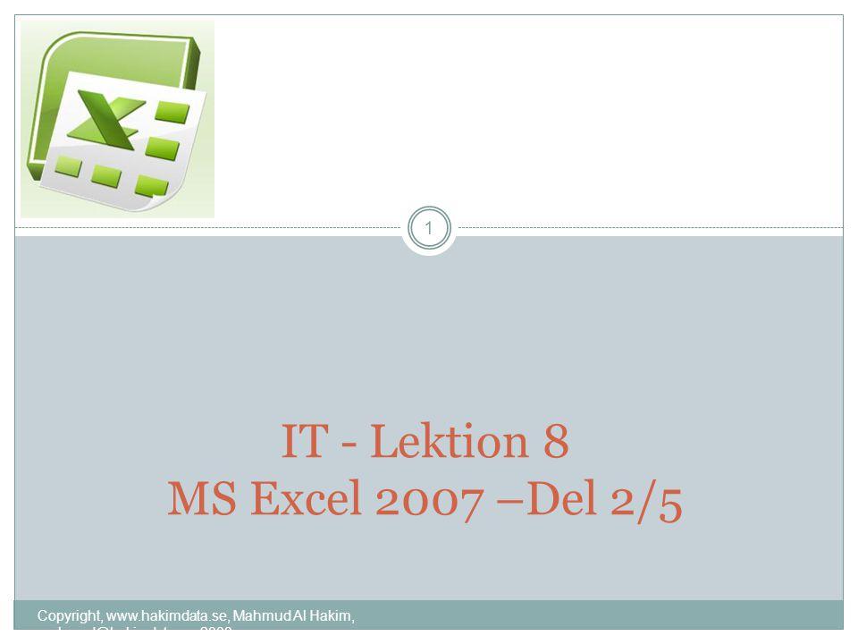 IT - Lektion 8 MS Excel 2007 –Del 2/5 1 Copyright, www.hakimdata.se, Mahmud Al Hakim, mahmud@hakimdata.se, 2008
