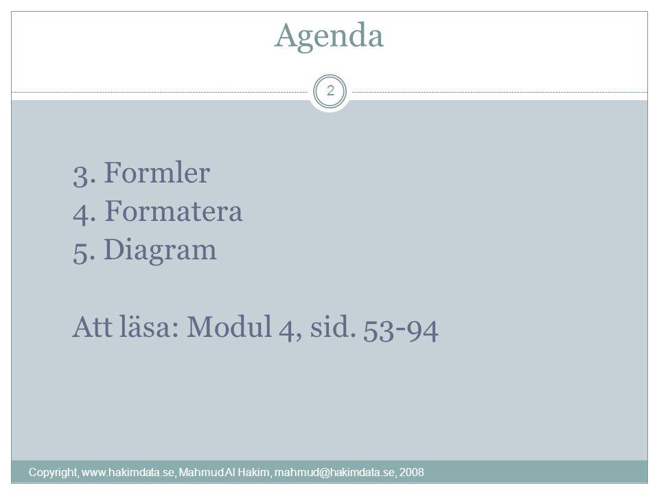 Agenda 3. Formler 4. Formatera 5. Diagram Att läsa: Modul 4, sid.