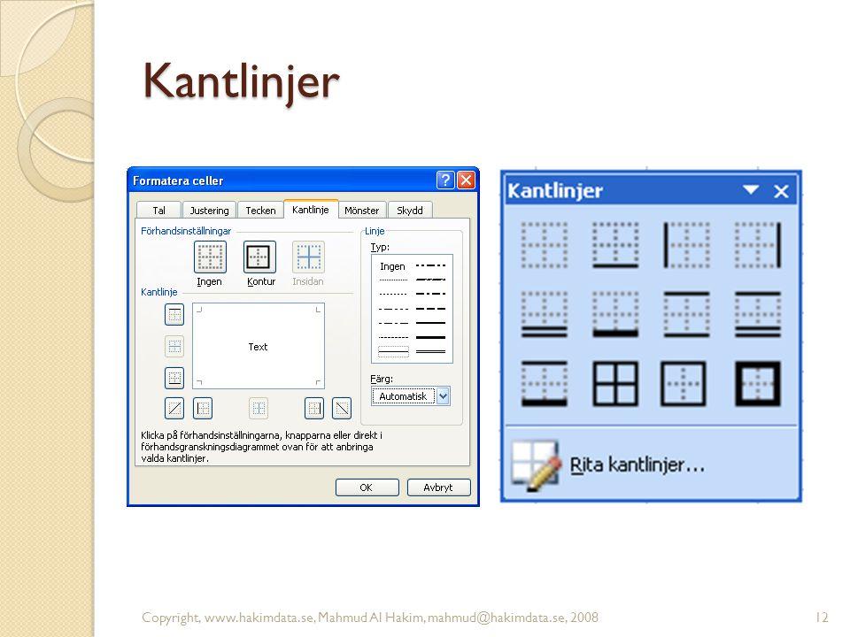 Kantlinjer Copyright, www.hakimdata.se, Mahmud Al Hakim, mahmud@hakimdata.se, 200812