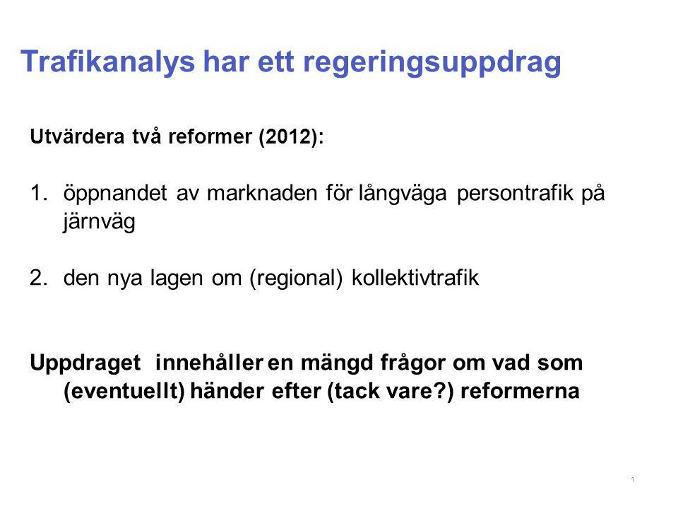 Trafikanalys har ett regeringsuppdrag 1 Utvärdera två reformer (2012): 1.öppnandet av marknaden för långväga persontrafik på järnväg 2.den nya lagen om (regional) kollektivtrafik Uppdraget innehåller en mängd frågor om vad som (eventuellt) händer efter (tack vare ) reformerna