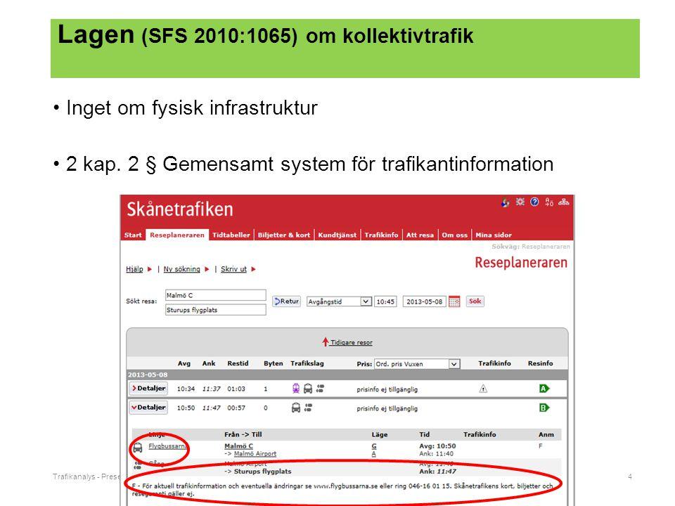 Trafikanalys - Presentationsnamn4 Lagen (SFS 2010:1065) om kollektivtrafik Inget om fysisk infrastruktur 2 kap.