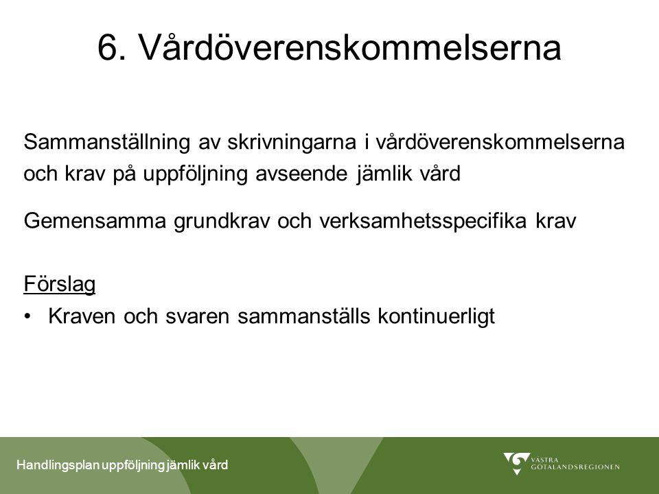 Handlingsplan uppföljning jämlik vård 6. Vårdöverenskommelserna Sammanställning av skrivningarna i vårdöverenskommelserna och krav på uppföljning avse