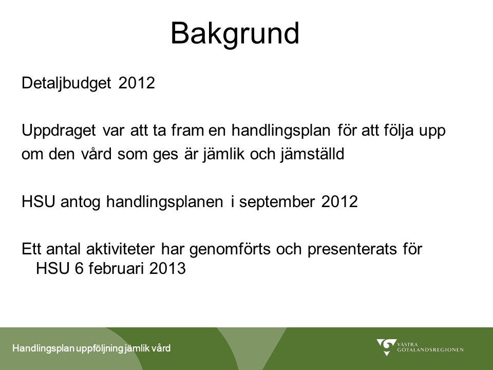 Handlingsplan uppföljning jämlik vård Bakgrund Detaljbudget 2012 Uppdraget var att ta fram en handlingsplan för att följa upp om den vård som ges är j