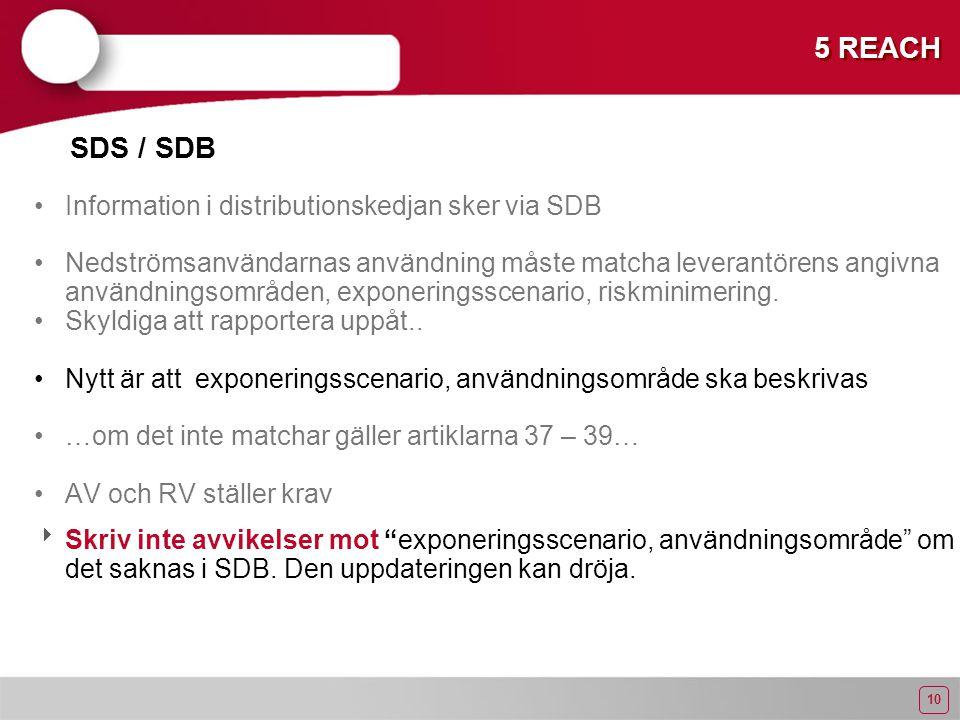 10 5 REACH Information i distributionskedjan sker via SDB Nedströmsanvändarnas användning måste matcha leverantörens angivna användningsområden, exponeringsscenario, riskminimering.