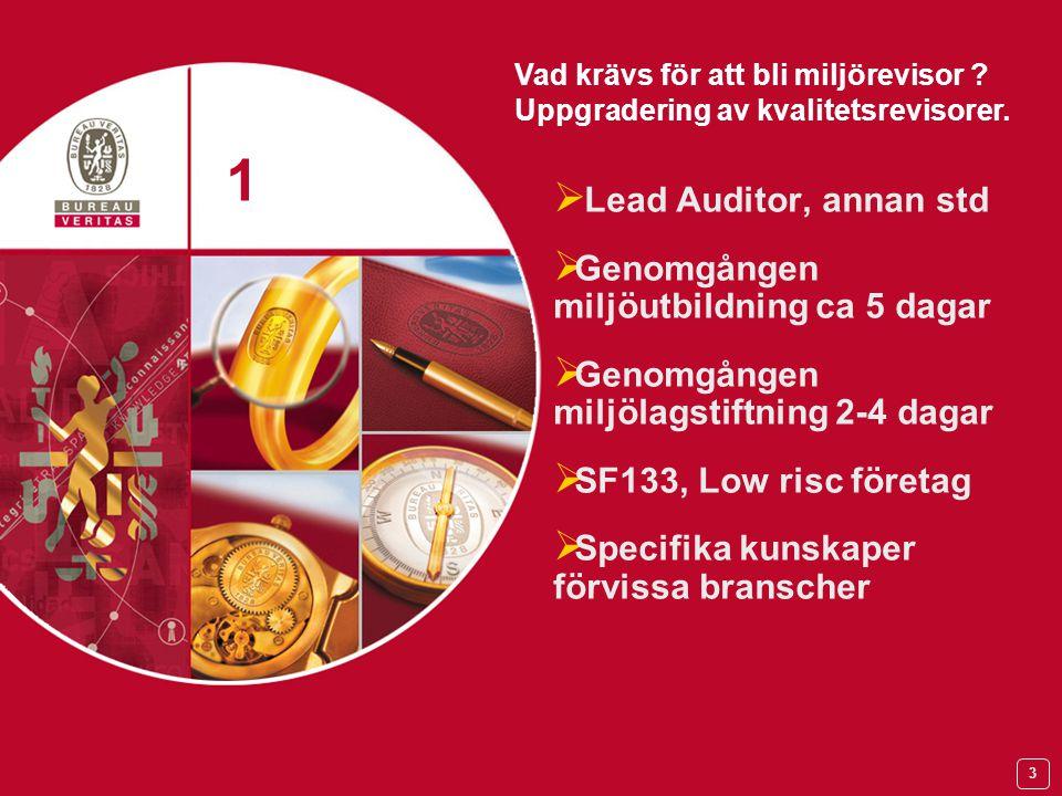 3  Lead Auditor, annan std  Genomgången miljöutbildning ca 5 dagar  Genomgången miljölagstiftning 2-4 dagar  SF133, Low risc företag  Specifika kunskaper förvissa branscher 1 1 Vad krävs för att bli miljörevisor .