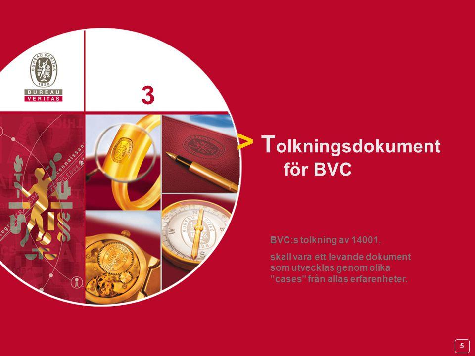 5 > T olkningsdokument för BVC 3 3 BVC:s tolkning av 14001, skall vara ett levande dokument som utvecklas genom olika cases från allas erfarenheter.