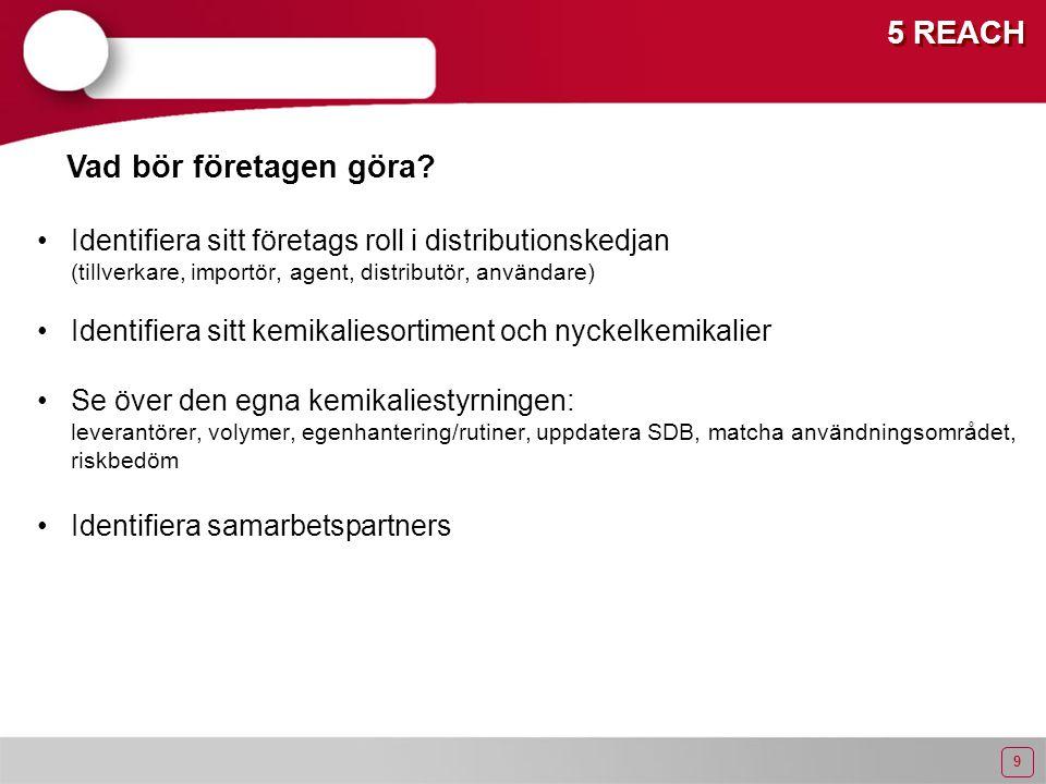 9 5 REACH Identifiera sitt företags roll i distributionskedjan (tillverkare, importör, agent, distributör, användare) Identifiera sitt kemikaliesortiment och nyckelkemikalier Se över den egna kemikaliestyrningen: leverantörer, volymer, egenhantering/rutiner, uppdatera SDB, matcha användningsområdet, riskbedöm Identifiera samarbetspartners Vad bör företagen göra?