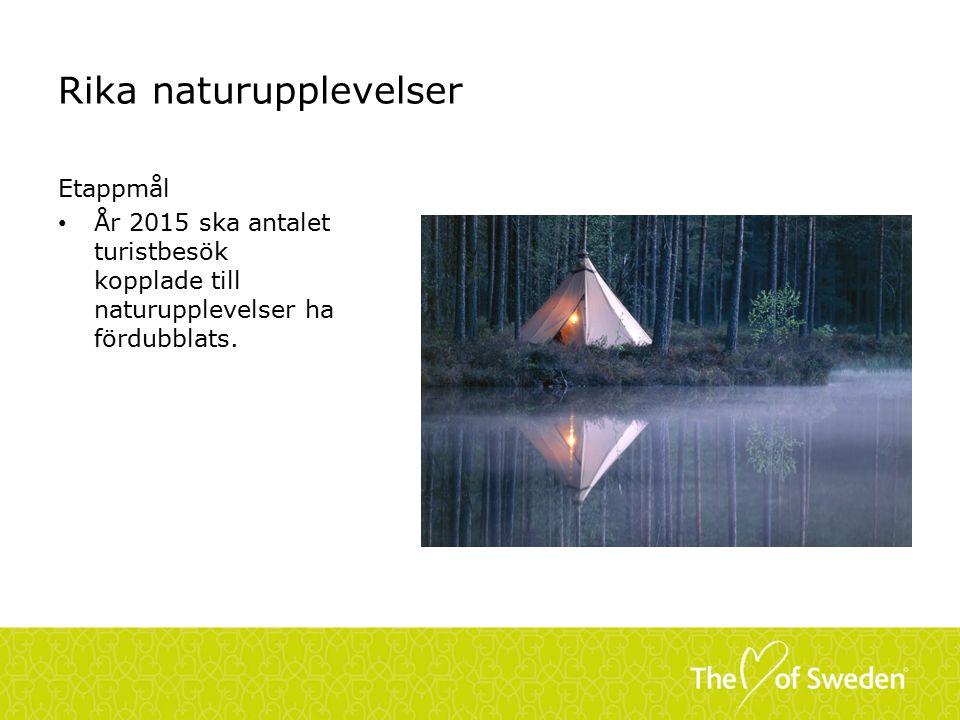 Rika naturupplevelser Etappmål År 2015 ska antalet turistbesök kopplade till naturupplevelser ha fördubblats.