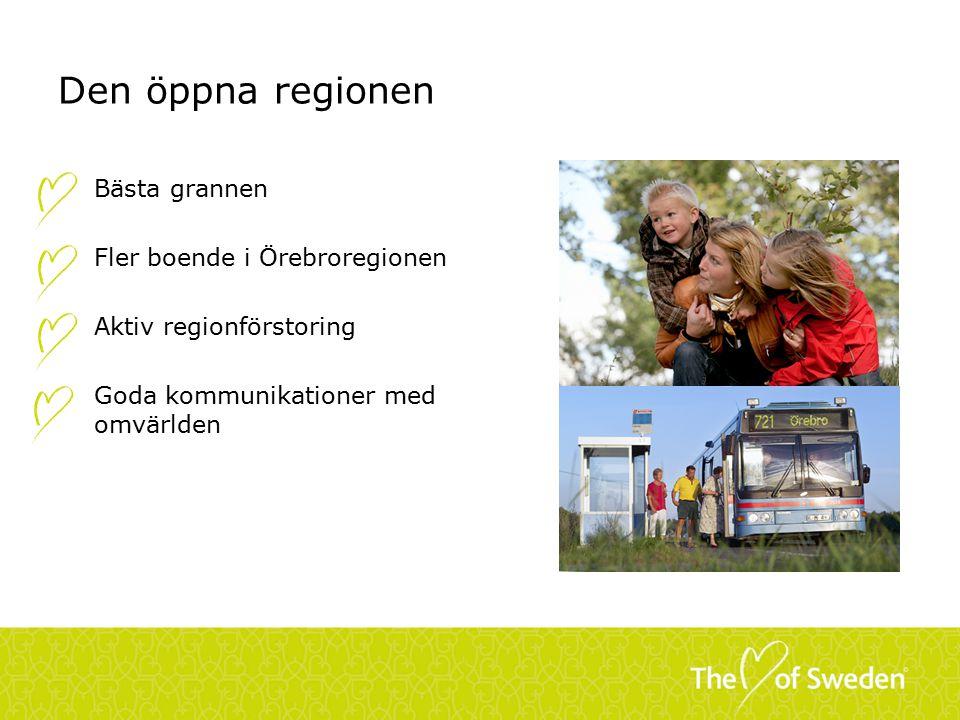 Den öppna regionen Bästa grannen Fler boende i Örebroregionen Aktiv regionförstoring Goda kommunikationer med omvärlden