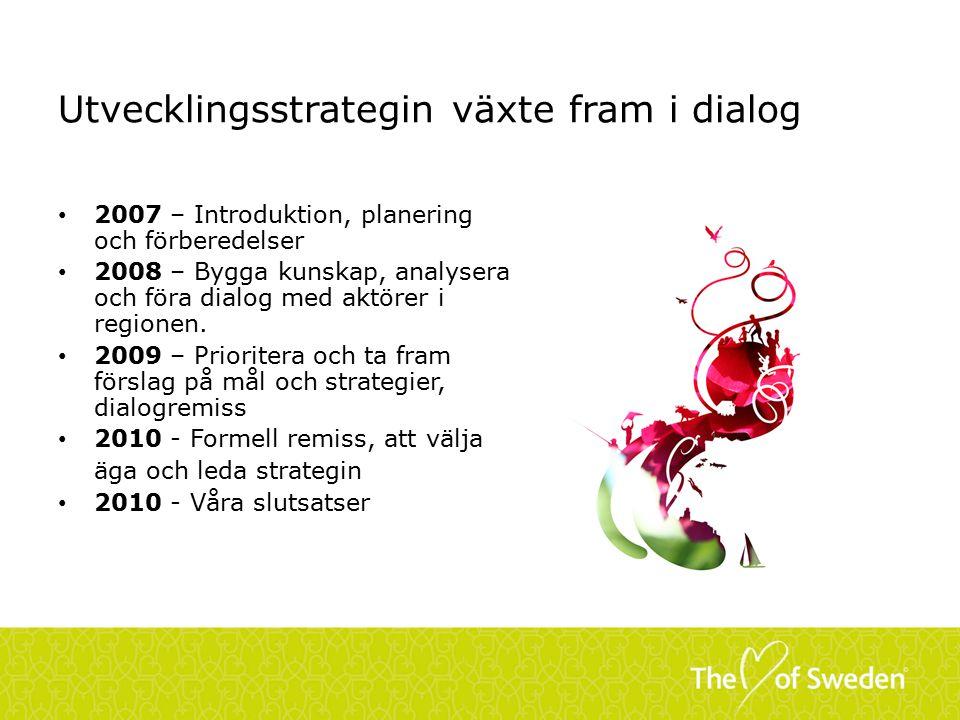 Utvecklingsstrategin växte fram i dialog 2007 – Introduktion, planering och förberedelser 2008 – Bygga kunskap, analysera och föra dialog med aktörer i regionen.