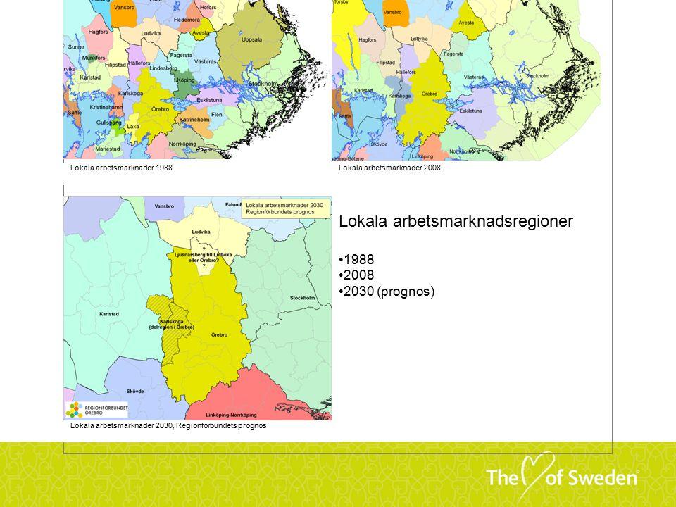 Lokala arbetsmarknadsregioner 1988 2008 2030 (prognos) Lokala arbetsmarknader 1988Lokala arbetsmarknader 2008 Lokala arbetsmarknader 2030, Regionförbundets prognos