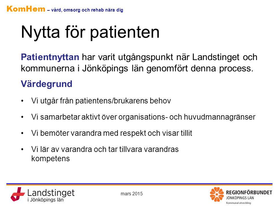 KomHem – vård, omsorg och rehab nära dig Nytta för patienten Patientnyttan har varit utgångspunkt när Landstinget och kommunerna i Jönköpings län geno