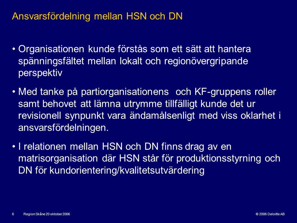 © 2006 Deloitte AB Region Skåne 20 oktober 2006 7 Central – lokal dimension i en matris HSN Strategisk styrning DN: Lokal uppföljning Vårdlogikövergripande styrning.