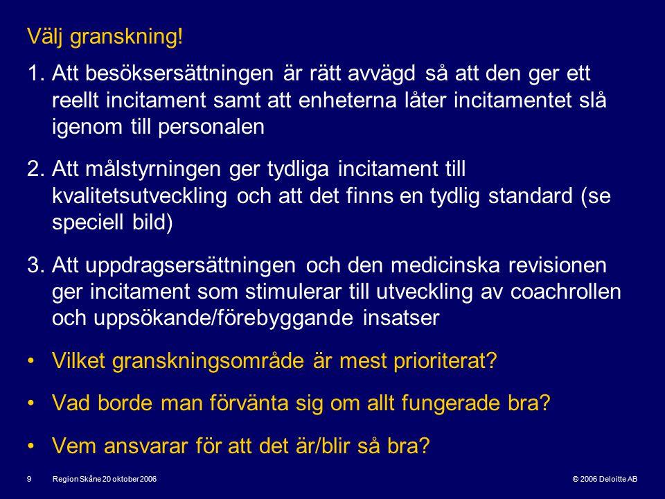 © 2006 Deloitte AB Region Skåne 20 oktober 2006 9 Välj granskning.