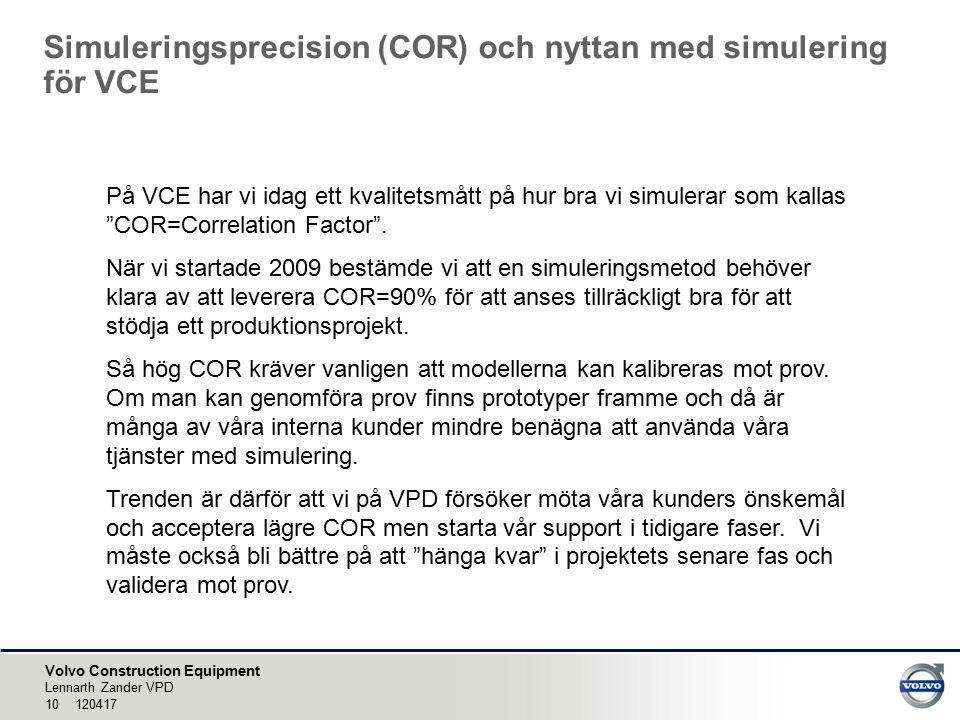 Volvo Construction Equipment Simuleringsprecision (COR) och nyttan med simulering för VCE Lennarth Zander VPD 10 120417 På VCE har vi idag ett kvalitetsmått på hur bra vi simulerar som kallas COR=Correlation Factor .