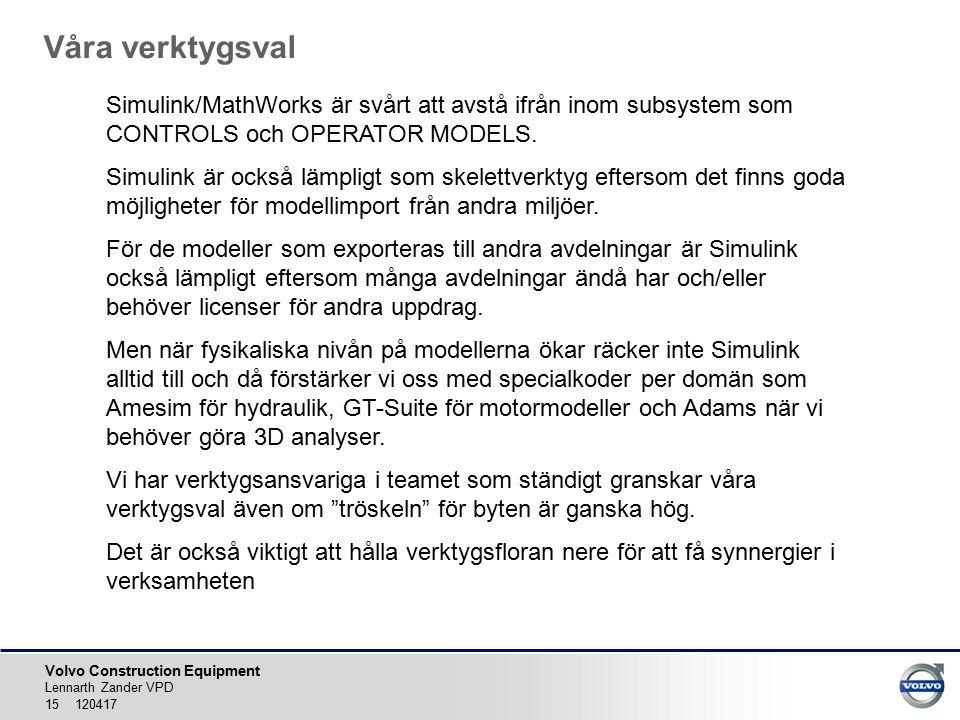 Volvo Construction Equipment Våra verktygsval Lennarth Zander VPD 15 120417 Simulink/MathWorks är svårt att avstå ifrån inom subsystem som CONTROLS och OPERATOR MODELS.
