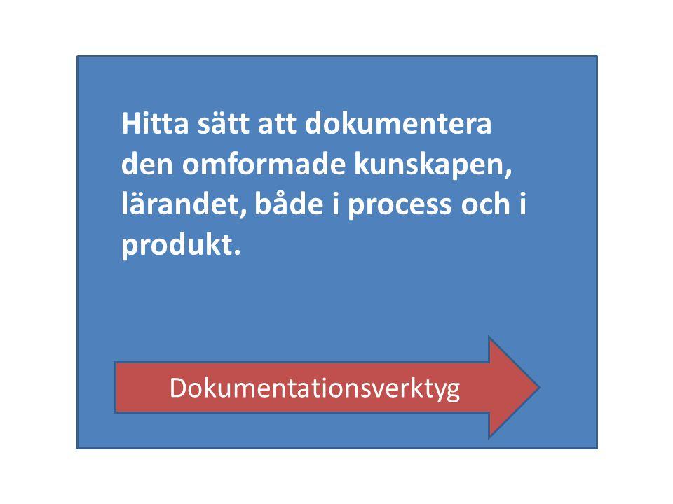 Hitta sätt att dokumentera den omformade kunskapen, lärandet, både i process och i produkt. Dokumentationsverktyg