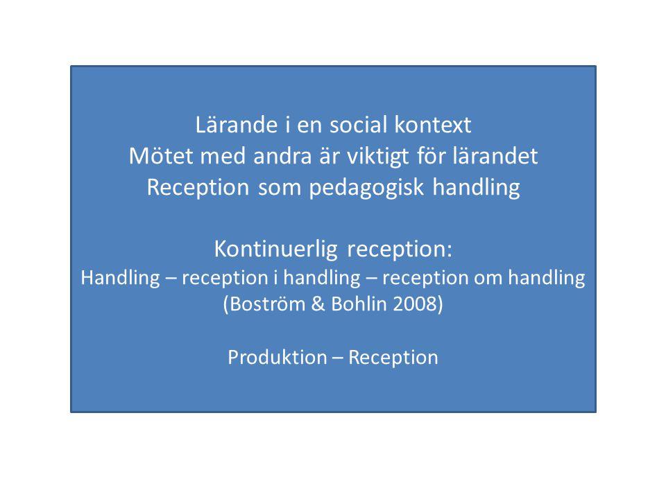 Lärande i en social kontext Mötet med andra är viktigt för lärandet Reception som pedagogisk handling Kontinuerlig reception: Handling – reception i handling – reception om handling (Boström & Bohlin 2008) Produktion – Reception