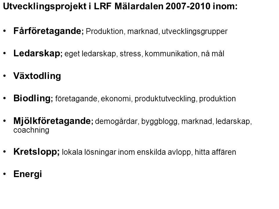 Utvecklingsprojekt i LRF Mälardalen 2007-2010 inom: Fårföretagande ; Produktion, marknad, utvecklingsgrupper Ledarskap ; eget ledarskap, stress, kommu