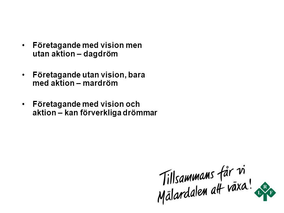 Företagande med vision men utan aktion – dagdröm Företagande utan vision, bara med aktion – mardröm Företagande med vision och aktion – kan förverklig