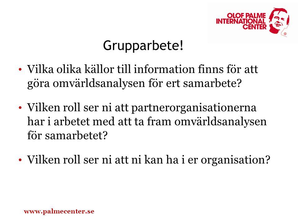 Grupparbete! Vilka olika källor till information finns för att göra omvärldsanalysen för ert samarbete? Vilken roll ser ni att partnerorganisationerna