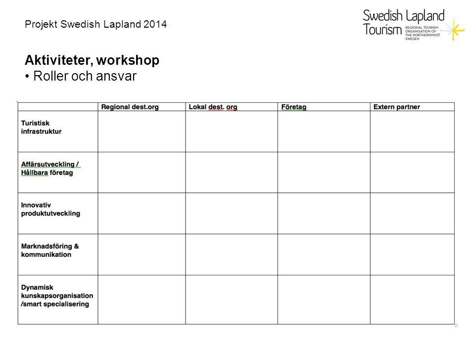 Projekt Swedish Lapland 2014 Aktiviteter, workshop Roller och ansvar