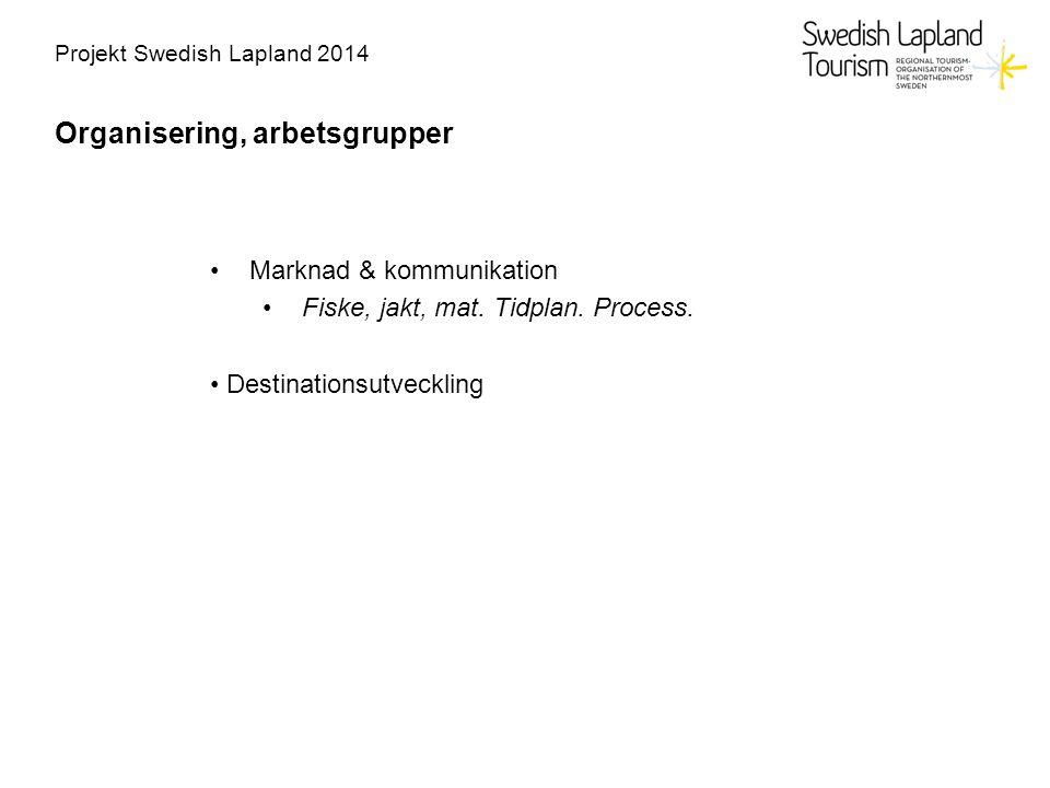 Projekt Swedish Lapland 2014 Organisering, arbetsgrupper Marknad & kommunikation Fiske, jakt, mat. Tidplan. Process. Destinationsutveckling