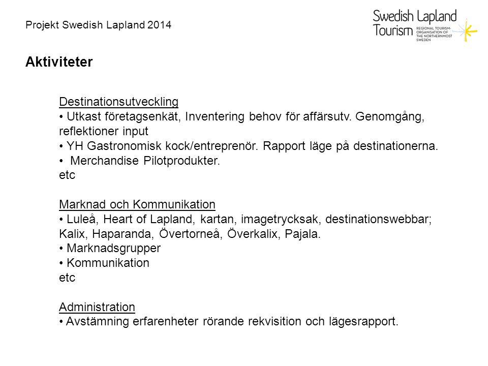 Projekt Swedish Lapland 2014 Aktiviteter Destinationsutveckling Utkast företagsenkät, Inventering behov för affärsutv. Genomgång, reflektioner input Y
