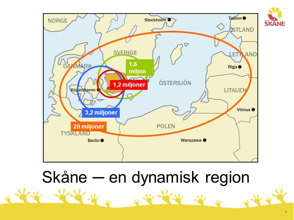 3 Skåne ─ en dynamisk region 1,6 miljon 3,2 miljoner 1,2 miljoner 20 miljoner