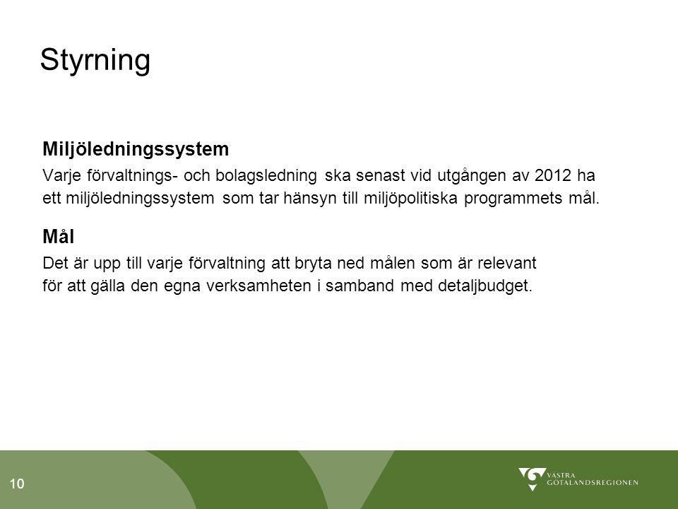 10 Styrning Miljöledningssystem Varje förvaltnings- och bolagsledning ska senast vid utgången av 2012 ha ett miljöledningssystem som tar hänsyn till miljöpolitiska programmets mål.