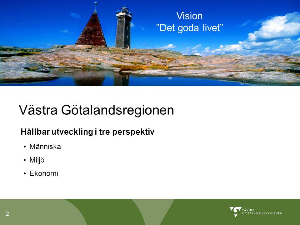 2 Västra Götalandsregionen Hållbar utveckling i tre perspektiv Människa Miljö Ekonomi Vision Det goda livet