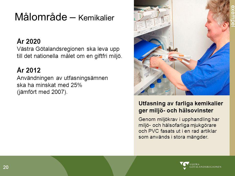 20 Målområde – Kemikalier År 2020 Västra Götalandsregionen ska leva upp till det nationella målet om en giftfri miljö.