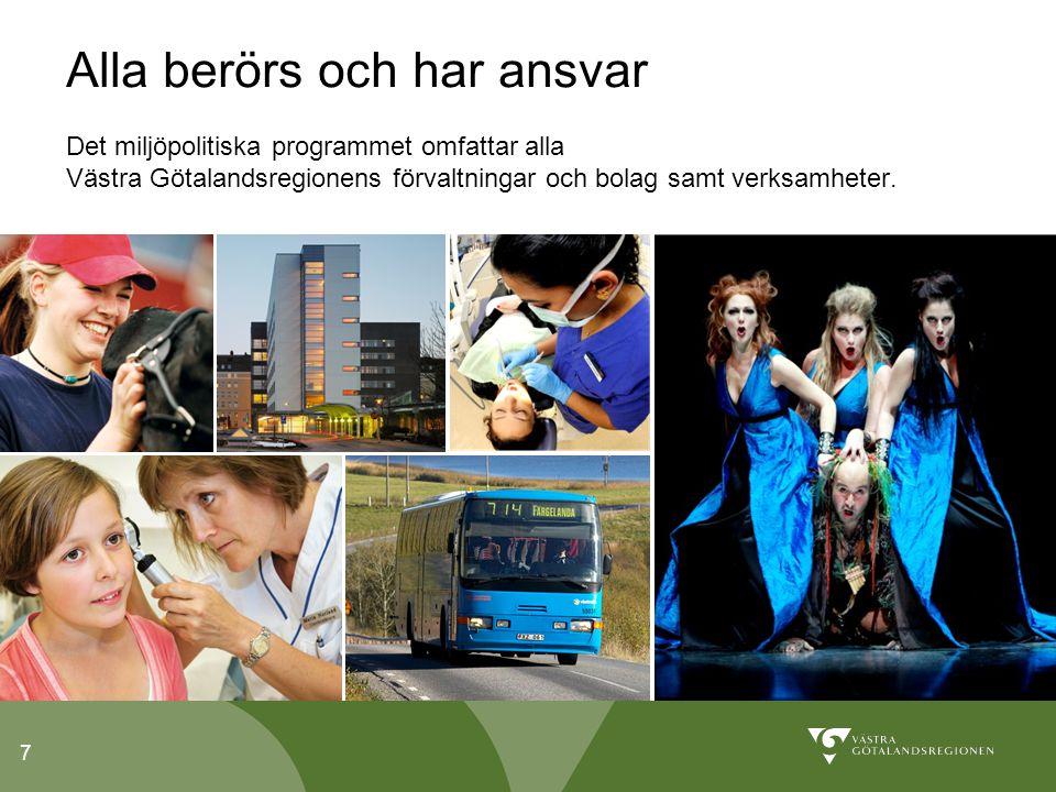 7 Alla berörs och har ansvar Det miljöpolitiska programmet omfattar alla Västra Götalandsregionens förvaltningar och bolag samt verksamheter.