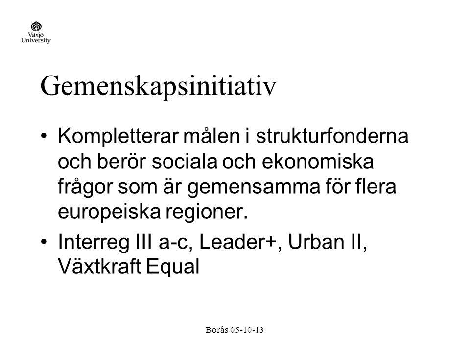 Borås 05-10-13 Gemenskapsinitiativ Kompletterar målen i strukturfonderna och berör sociala och ekonomiska frågor som är gemensamma för flera europeiska regioner.