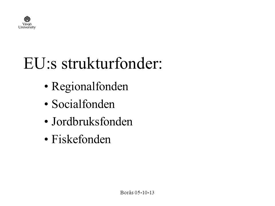 Borås 05-10-13 Strukturfonderna utgör ungefär en tredjedel av EU:s totala budget och kanaliserar i huvudsak pengar för regional utveckling genom olika s k mål och gemenskapsinitiativ.