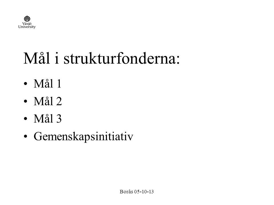Borås 05-10-13 Mål i strukturfonderna: Mål 1 Mål 2 Mål 3 Gemenskapsinitiativ