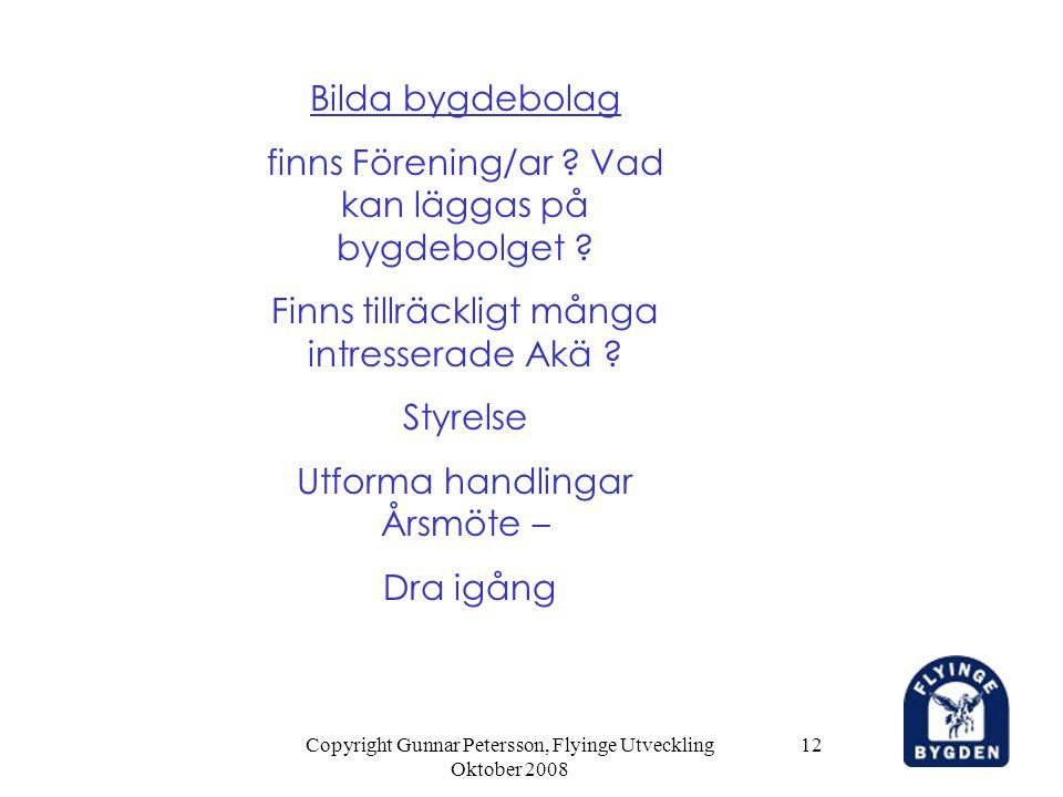 Copyright Gunnar Petersson, Flyinge Utveckling Oktober 2008 12 Bilda bygdebolag finns Förening/ar ? Vad kan läggas på bygdebolget ? Finns tillräckligt