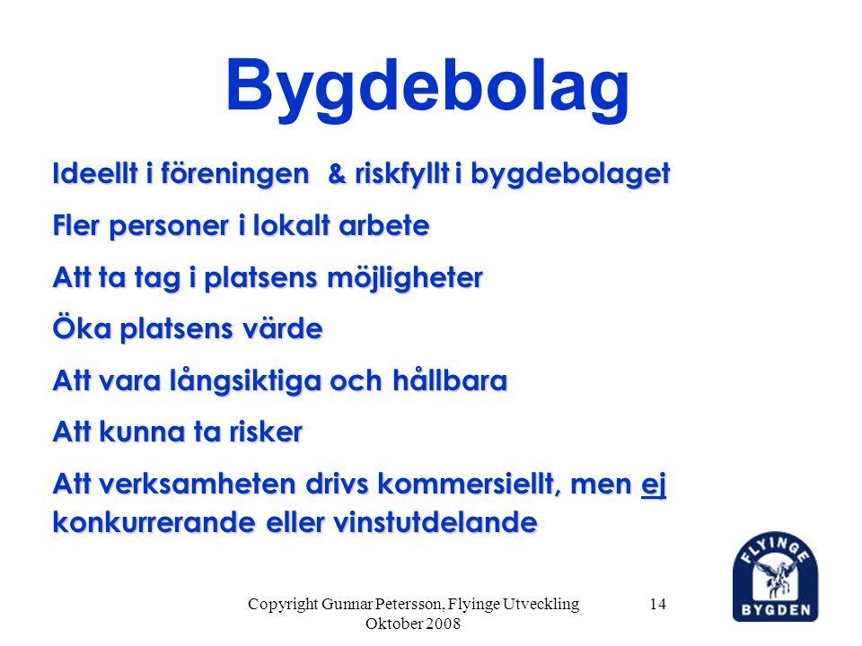 Copyright Gunnar Petersson, Flyinge Utveckling Oktober 2008 14 Bygdebolag Ideellt i föreningen & riskfyllt i bygdebolaget Fler personer i lokalt arbet