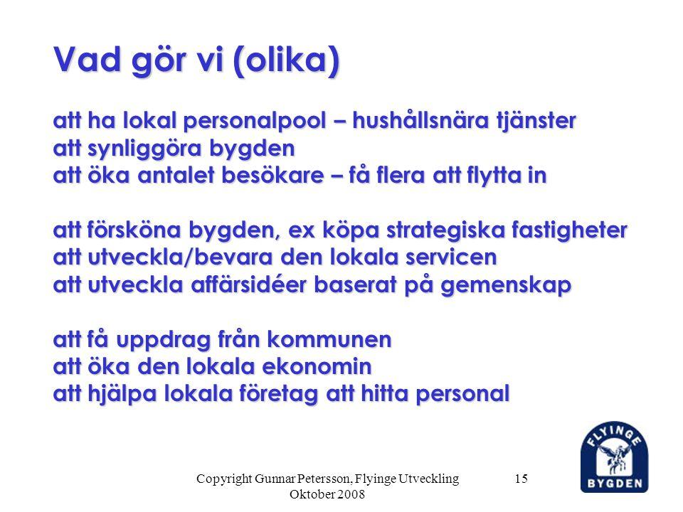 Copyright Gunnar Petersson, Flyinge Utveckling Oktober 2008 15 att ha lokal personalpool – hushållsnära tjänster att synliggöra bygden att öka antalet