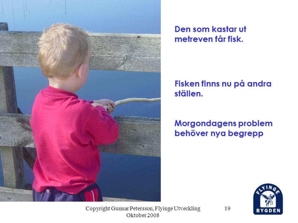 Copyright Gunnar Petersson, Flyinge Utveckling Oktober 2008 19 Den som kastar ut metreven får fisk. Fisken finns nu på andra ställen. Morgondagens pro